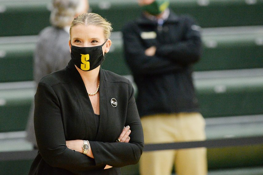 Siena women's basketball head coach Ali Jaques' team fell to Marist 60-44 on Sunday. (Gazette file photo)