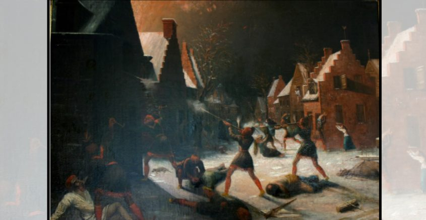 Samuel Sexton's 19th century painting of the Schenectady Massacre is on display at the Schenectady County Historical Society.
