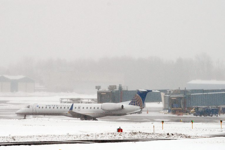 A United Express plane readies for departure at Albany International Airport in Albany on Monday
