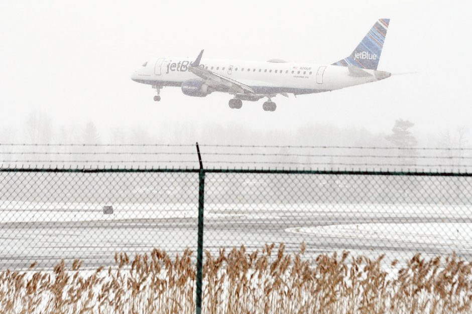 ERICA MILLER/THE DAILY GAZETTE A JetBlue Airways plane arrives at Albany international Airport from Orlando on Monday.