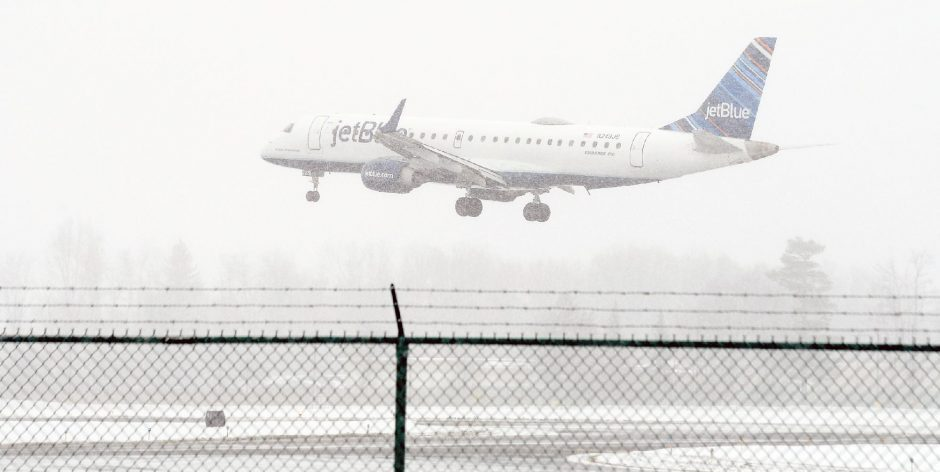 A JetBlue Airways plane arrives at Albany international Airport from Orlando on Monday.