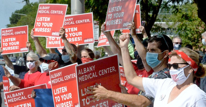 Albany Medical Center nurses rally in front of the hospital on Labor Day.