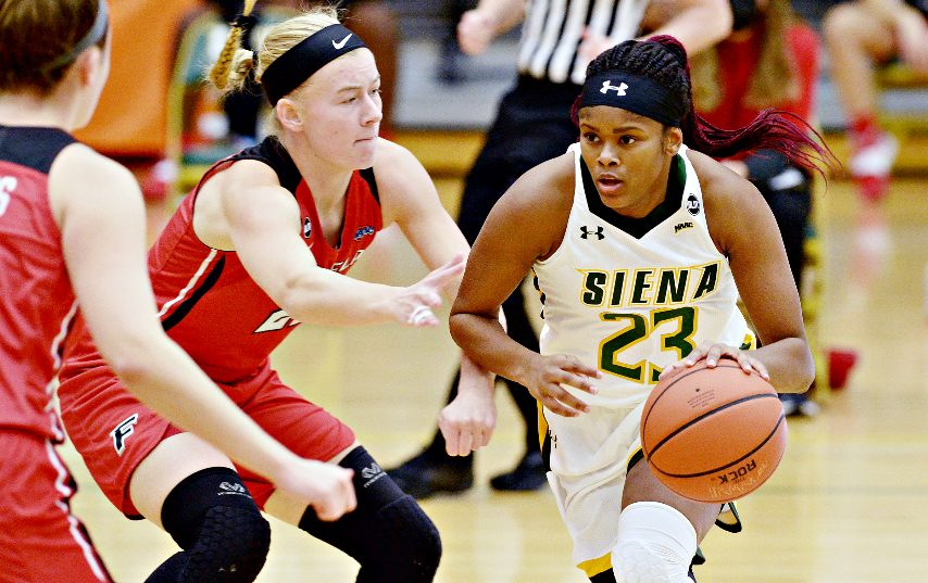 Siena's Isis Young, right, had a game-high 22 points in Wednesday's game.