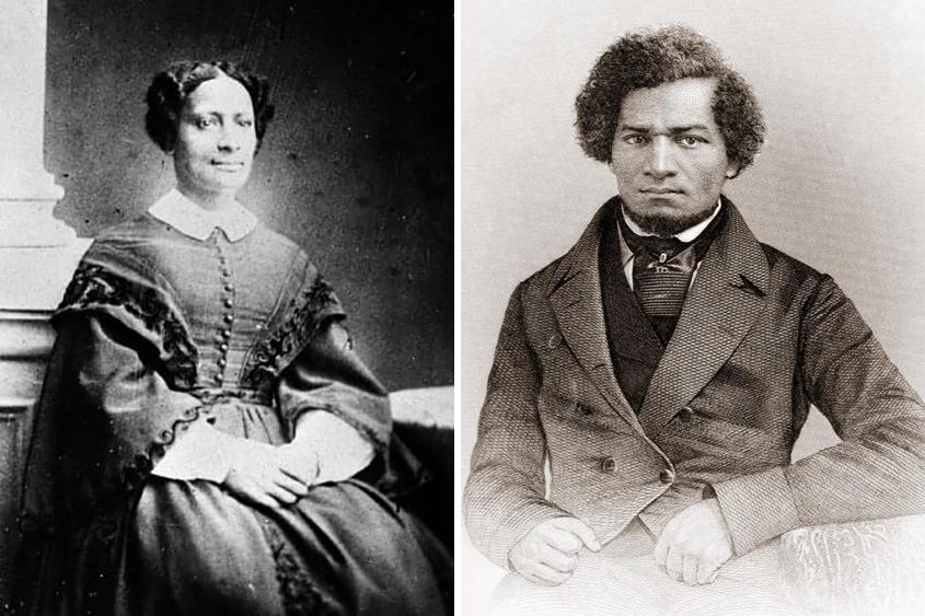 Left: Sarah Parker Remond of Massachusetts traveled to Ireland in the 19th century to speak out against slavery. Right: Frederick Douglass traveled around Europe in the mid-1800s on a speaking tour.