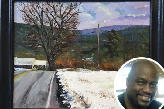 """Dater Hill Road, Brunswick"" by artist Ken Wilson, inset."