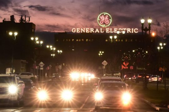 Schenectady's General Electric at night - File