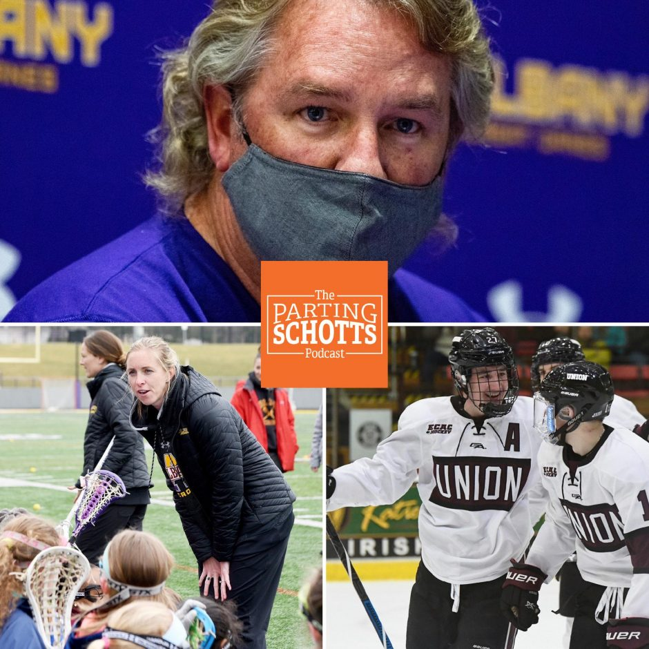 """UAlbany men's lacrosse coach Scott Marr, UAlbany women's lacrosse coach Katie Rowan Thomson and Union hockey's Josh Kosack are this week's guest on """"The Parting Schotts Podcast."""""""