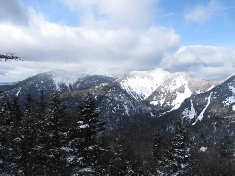 A view of the Adirondacks on a winter day. Peaks fom left to right: Haystack, Marcy, Basin, Saddle Back.
