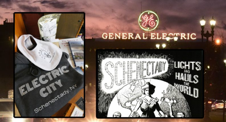 "Inset left: ""Electric City"" branded items for sale at Schenectady Trading Company on Union Street Thursday. Inset right: An old Schenectady poster. Background: General Electric."