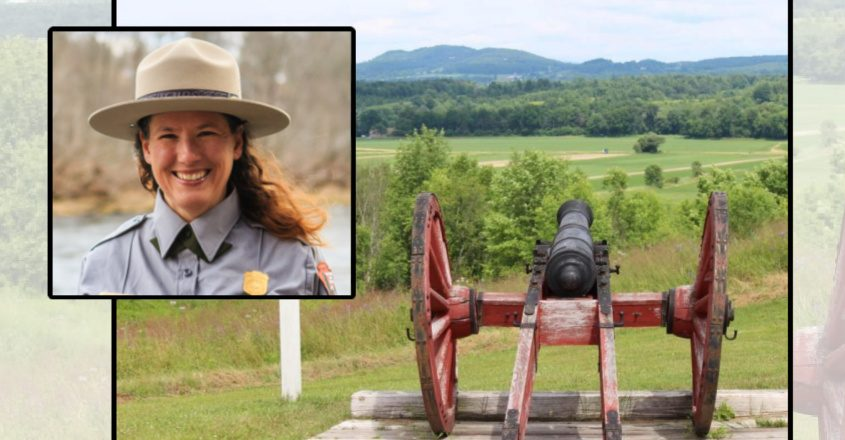 Leslie Morlock, inset, is the new superintendent of the Saratoga National Historical Park in Stillwater. A cannon at the battlefield (background) Credit: National Parks Service (inset) File (Background)