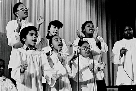 Singers perform during the Martin Luther King observance at Linton High School in 1986.