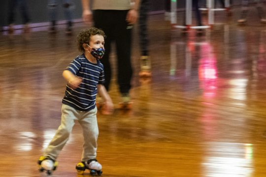 Only after a hand full of lessons, 4-year-old Luca Gervasio of Schenectady skates at Rollarama Skating Center in Rotterdam Saturday