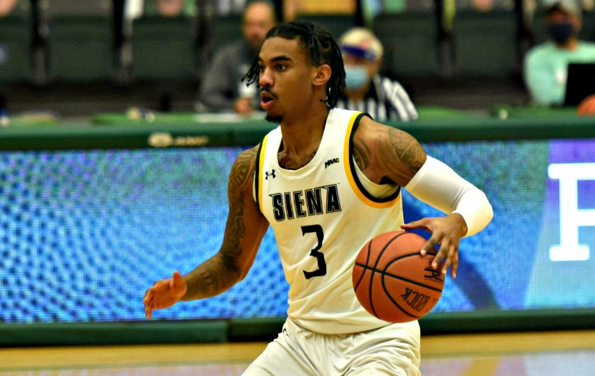 Siena's Manny Camper is shown in a game earlier this season.