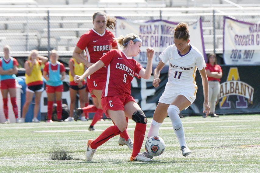 The UAlbany women's soccer team, pictured during a 2019 game, opened its season Sunday with a loss to St. John's.