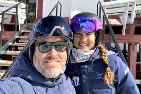 ChadWaterswith daughter Avery, the top girl skier in Section II this season.