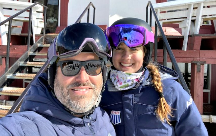 Chad Waters with daughter Avery, the top girl skier in Section II this season.