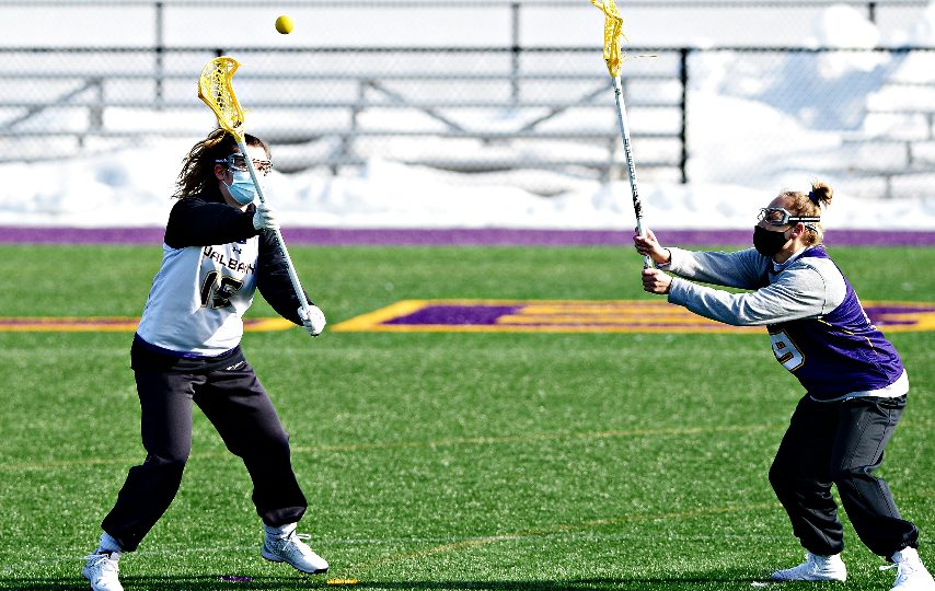 The UAlbany women's lacrosse team practices last Wednesday. (Erica Miller/The Daily Gazette)