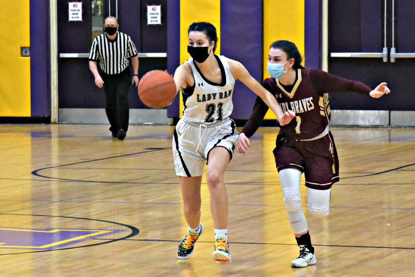 Amsterdam's Antonia May, left, tries to stay a step ahead of Fonda-Fultonville's Kyla Smith during Tuesday's non-league match-up at Amsterdam High School. Feb. 23, 2021.
