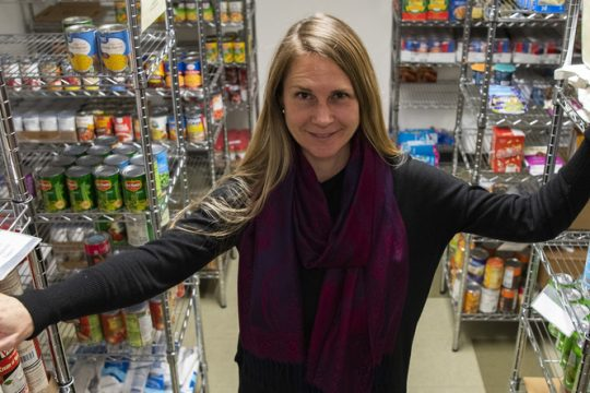 Natasha Pernicka in the Bethesda House food pantry on State Street in Schenectady