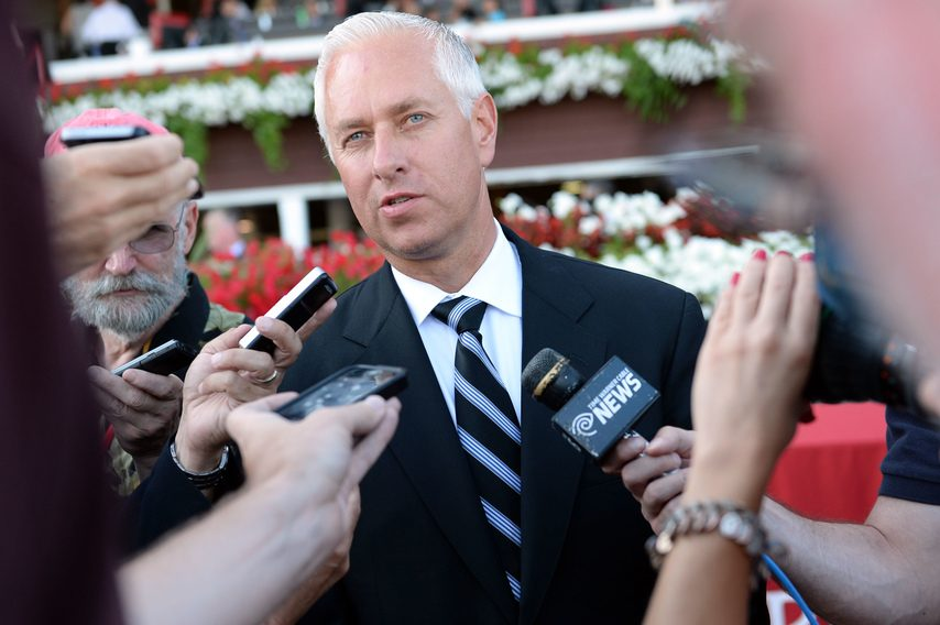GAZETTE FILE PHOTOTrainer Todd Pletcher speaks to the media in the winner's circle at Saratoga Race Course in 2015.