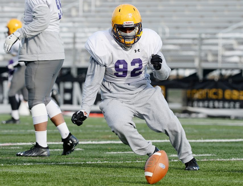 UAlbany football defensive lineman Mazon Walker during practice on campus in Albany on Wednesday.