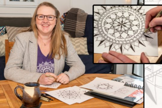Betsy Seplowitz works on some of her mandala drawings.