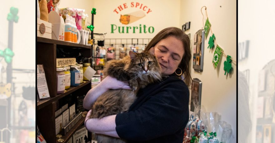 Tanya Hall holds Mika in the Spicy Purrito Shop at the Schenectady Trading Co. on Union Street in Schenectady
