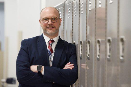 ERICA MILLER/The Daily GazetteSchenectady City Schools Acting Superintendent Dr. Arron Bochniak is picturedat Mont Pleasant Middle School on April 3.