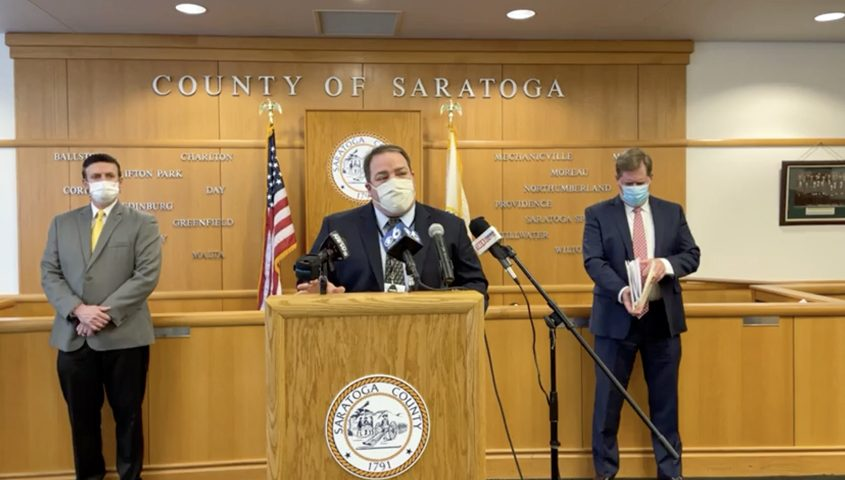 SARATOGA COUNTYDr. Daniel Kuhles, commissioner of Saratoga County Public Health Services, speaks at a news conference Wednesday.