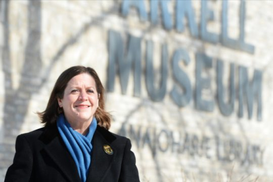 Arkell Museum and Canajoharie Library Executive Director and Chief Curator Suzan Friedlander outside at Arkell Museum in Canajoharie