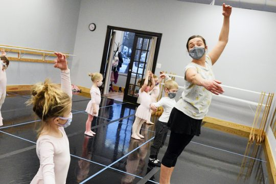 Dances during creative movement class, 3-4 year-olds, by instructor and owner Cristiane Santos at Saratoga Springs Youth Ballet