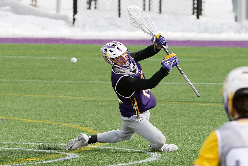 ERICA MILLER/THE DAILY GAZETTE UAlbany goalie Liam Donnelly plays a shot during practice on Wednesday.