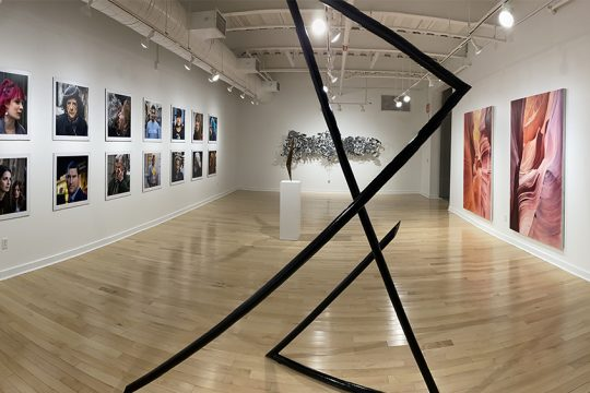 "A panoramic view of part of the ""Pause"" exhibit at the Crowell and West Galleries at Union College. (Image courtesy of Frank Rapant and the Union College Visual Arts Department)"