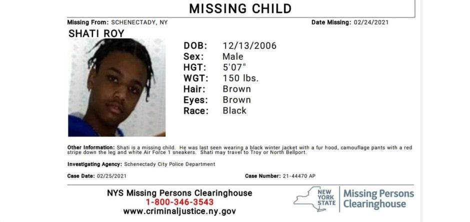 Shati Roy's missing child poster