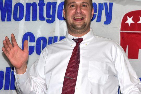 Photo by Bill TrojanMontgomery County Executive Matt Ossenfort speaks at the Winner's Circle in Fonda on Wednesday, Feb. 24, 2021.