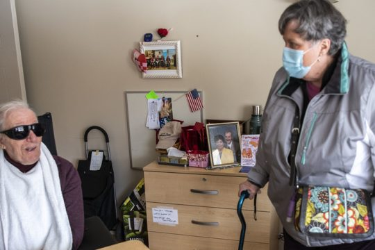 Gail St. Louis visits her husband Neil St. Louis for the first time in almost a year at Glendale Home in Glenville Friday