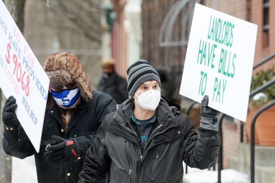 Landlords protest in Albany Feb. 18.