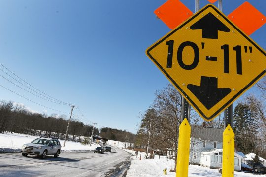 ERICA MILLER/THE DAILY GAZETTE A sign on Glenridge Road in Glenville warns drivers of a low bridge coming up.