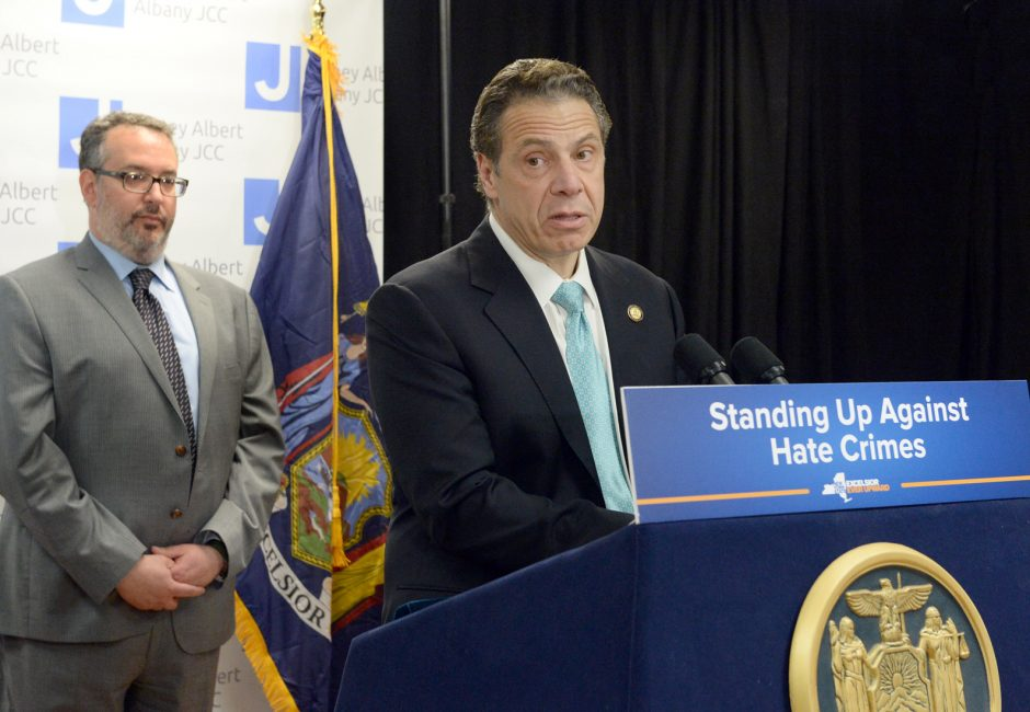 Gov. Andrew Cuomo speaks about controlling hate crimes during a press conference at the Albany Jewish Community Center the morning of Wednesday, March 1, 2017.