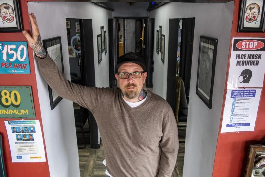 Tattoo artist Scott Dethorne is seen inside his Chrisler Avenue business, Craftsman Tattoo, in Schenectady