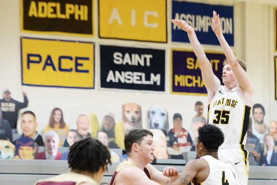 ERICA MILLER/THE DAILY GAZETTE The College of Saint Rose's Josh McGettigan scored a career-high 24 points in the Golden Knights' win over American International on Saturday.
