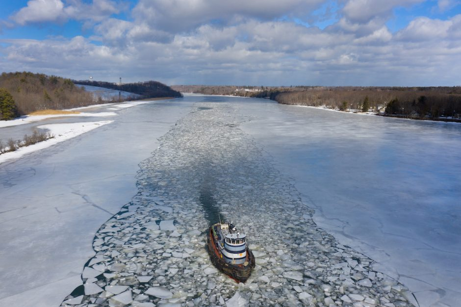 The tugboat Margot breaks ice on the Mohawk River near Lock E-7 in Niskayuna on Thursday, Feb. 25, 2021, as part of an effort to mitigate the impact of ice on neighboring communities.