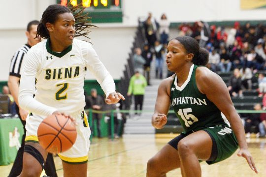 ERICA MILLER/THE DAILY GAZETTESiena's Amari Anthony scored 10 points in the Saints' 62-54 loss to Saint Peter's on Saturday in Jersey City, N.J.