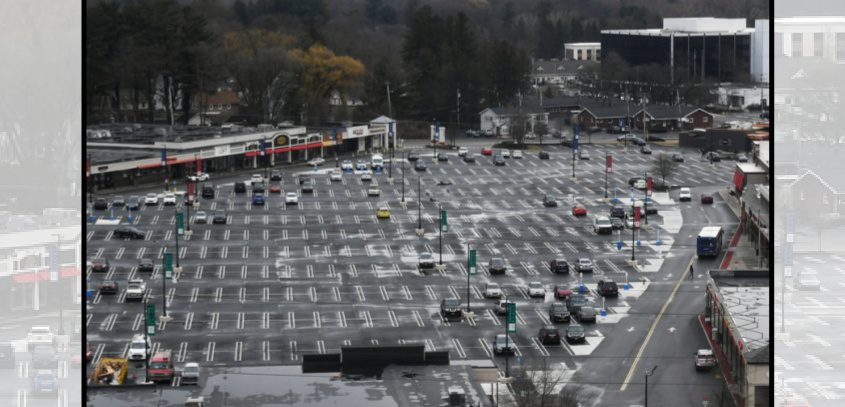 Stuyvesant Plaza parking lot in Guilderland is nearly empty March 19, 2020.