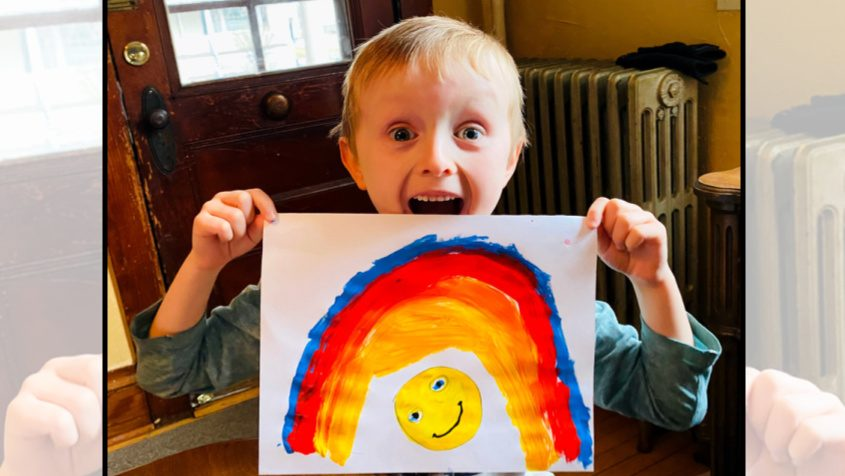 Finnegan Ackerbauer of Johnstown is all smiles after creating an illustration for the 518 Rainbow Hunt, a literal bright spot in the pandemic.