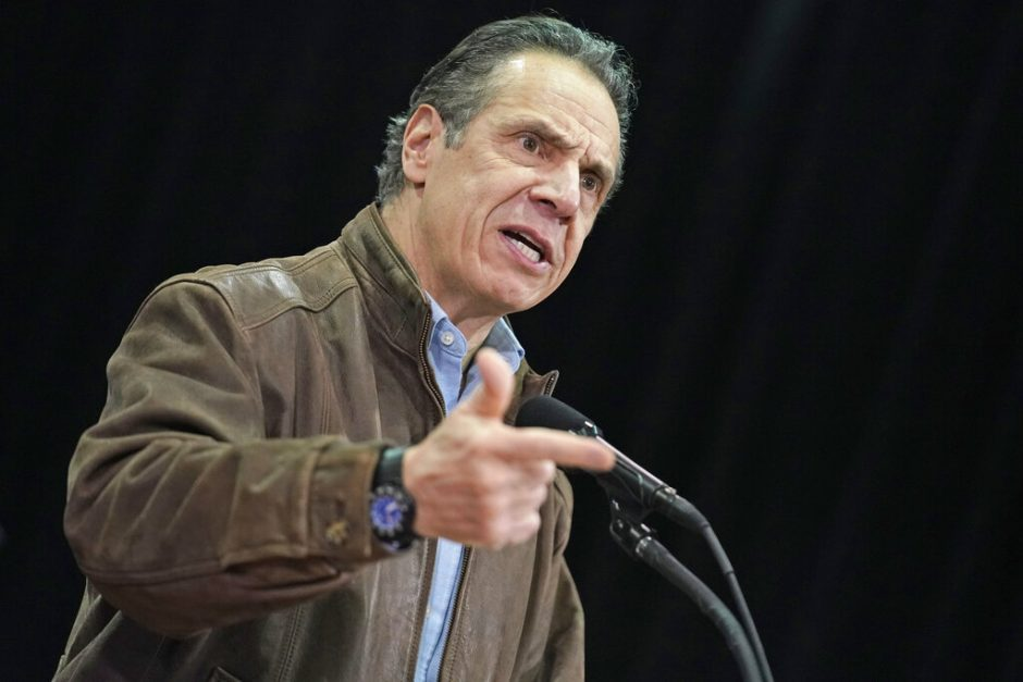 New York Gov. Andrew Cuomo speaks during a press conference last month before the opening of a mass COVID-19 vaccination site in the Queens borough of New York.