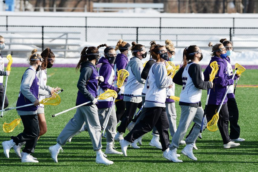 UAlbany women's lacrosse, pictured at a recent practice, posted a 15-12 win Sunday against Colgate.