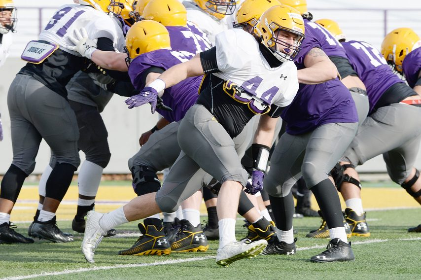 UAlbany linebacker Danny Damico is pictured during practice on Wednesday in Albany.