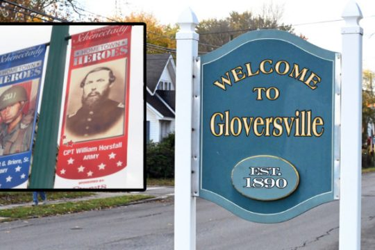 Hometown Heroes banners in Schenectady in 2015. (Inset) A Welcome to Gloversville sign. File photos