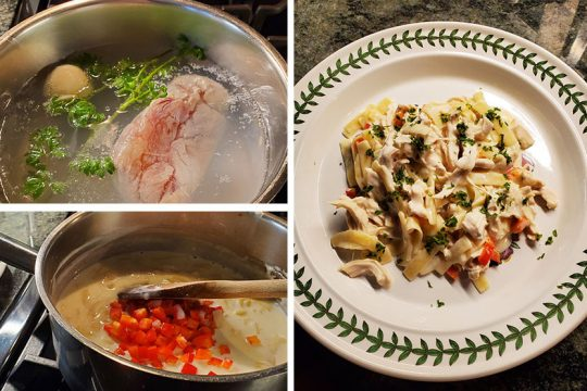 Top left: Poaching boneless chicken with half an onion and some sprigs of parsley. Bottom left: Adding red bell pepper to sauce. Right: Poached poultry with Parmigiano pasta and pepper. (Photos by Caroline Lee)